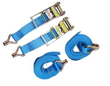 2 x 75mm x 12 metre RATCHET LASHING STRAPS MBL 10T Tie Down Claw Hook trailer